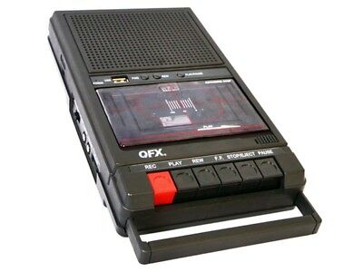 QFX RETRO-39 Shoebox Cassette Tape Recorder +AUX/USB +Built-In Mic