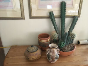 Artificial Cactus and Mexican pottery