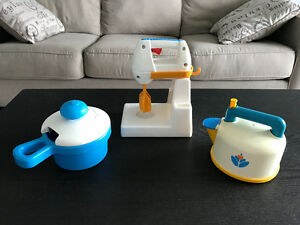 "Vintage Fisher Price ""Fun with Food"" Kettle, Mixer, and Pot"