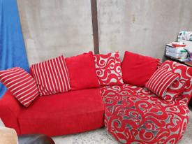 Red semi corner sofa