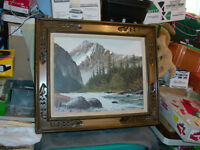 """ORIGINAL PAINTING 27"""" X 23"""" MOUNTAINS TREES RIVER"""