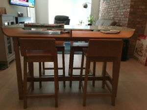 All wood table with a beautiful tempered Aqua glass top