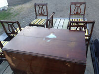 Antique Liar back chair and folding dining table set