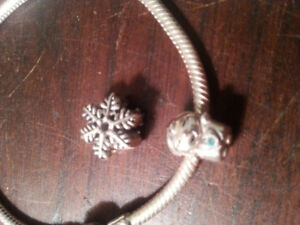 Pandora Silver Bracelet with Baby Boy and Snowflake charms