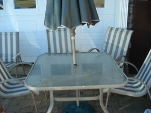 PATIO CHAIRS, TABLE, UMBRELLA, AND  FOLDING CHAIRS