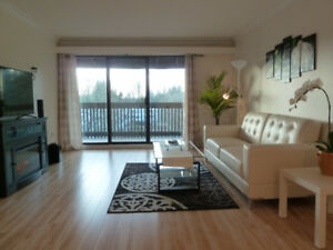 Luxury furnished 1BR top floor apt., 3-min walk Lougheed skytrai