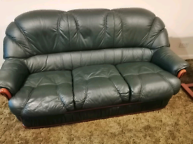 3seater leather couch and 1 chair