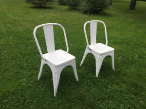 Pair of White Industrial Style Chairs