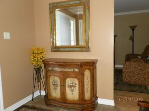 Antique style cabinet with wall mirror