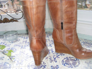 Kenneth Cole Leather Wedge Heel Boots