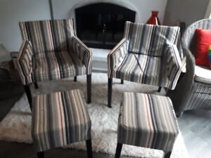 IKEA living room chairs with matching stools