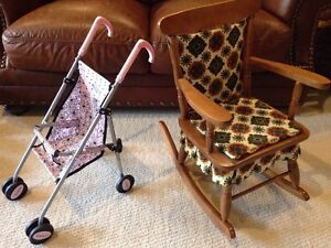 Vintage Child's Rocker and Doll Stroller