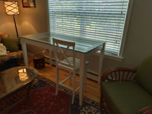 Counter top height glass table