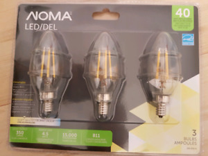 NOMA B11 40W Chandelier LED Light bulb, 3pk