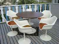 Mid Century Tulip table and chairs, vintage coffee tables, etc