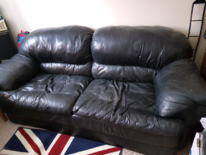 Leather Oversized  Loveseat Couch