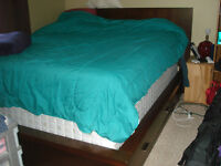 Queen size bed frame and nightstand