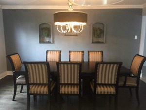 Dinning room set table 8 chairs armoire