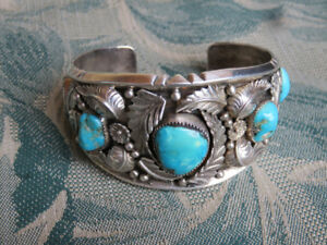 Vintage Canadian Turquoise & Sterling Silver Cuff Bracelet