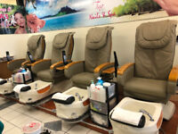 4 Pedicure chairs  + 4 small stools