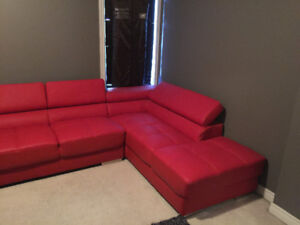 Almost new red leather sectional sofa!!  $375 OBO
