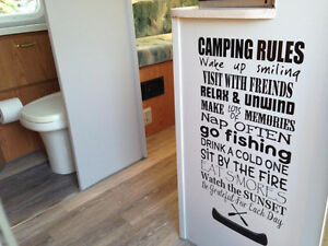 Camping Rules cut vinyl decal home RV Trailer Camp decor