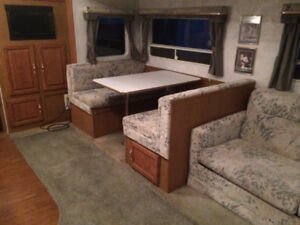 RV seating area with cushions, table, legs and storage