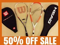 Wilson Nano Carbon Force and Slazenger X-Force Squash Rackets with Covers