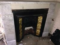 Gray Marble Fireplace