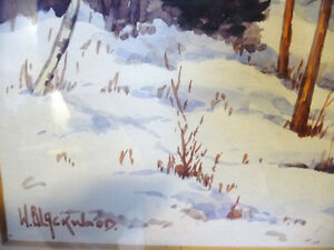 "Original Watercolor by William Blackwood, ""Winter Study"" 1930 Stratford Kitchener Area image 5"