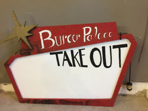 Burger Sign, Working Light up Prop from SHAW FESTIVAL