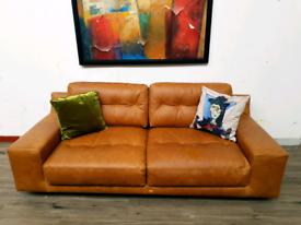 Habitat Hendricks 3 seater sofa in tan leather RRP £2400