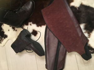 Ariat leather riding boots and chaps