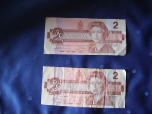 Two-Dollar Bills - Two 1986 Canadian 2-Dollar Bills - Circulated Kingston Kingston Area image 1