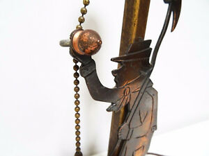 1930s COPPER FIGURAL LAMP charming MAN with AXE oak base CUPCAKE Kitchener / Waterloo Kitchener Area image 5
