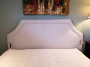 Queen size fabric headboard and box spring for sale