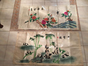 2 unframed HUGE traditional Chinese silk embroidery wall arts