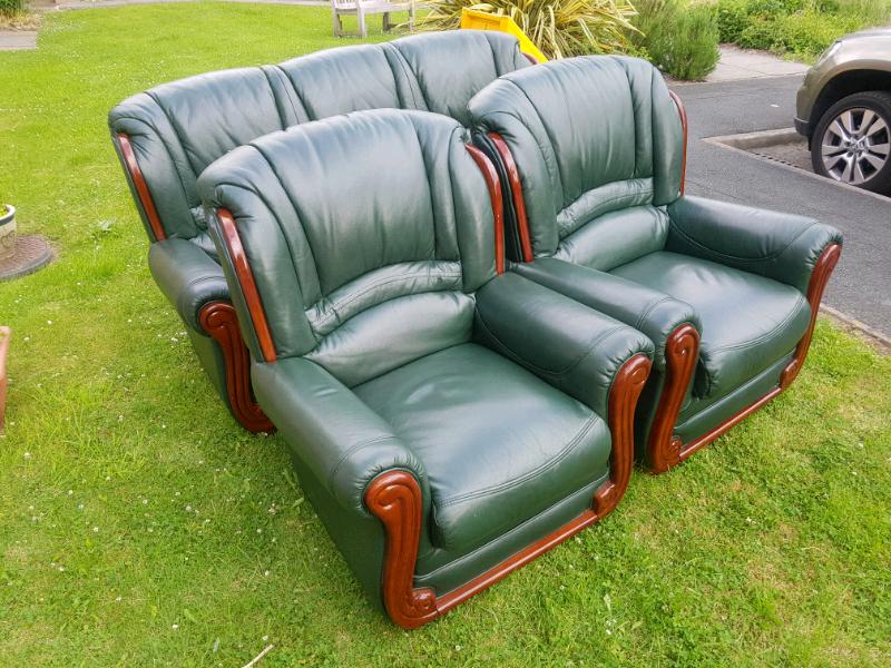 Super Sofa Quality Comfy 5 Seater Genuine Green Leather Wood Sofa Set In Bradford West Yorkshire Gumtree Machost Co Dining Chair Design Ideas Machostcouk
