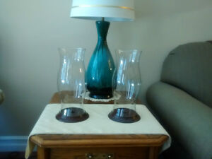 2 Glass/Wood/Brass Tall Chimney Hurricane Candle Holders