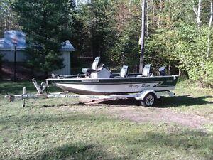 16' Misty River aluminum bass boat and 25 hp Yamaha 2 stroke