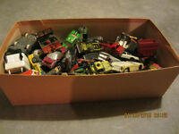 SHOE BOX OF OLD MEDAL CARS AND TRUCKS, DINKY TOYS