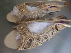 Golden fancy shoes size 4 moving sale brand new