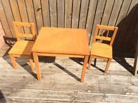 Kids Wooden Table and 2 chairs (Ikea)