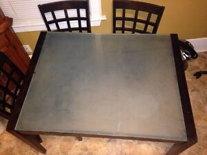 Frosted Glass Top table w/ 4 Chairs