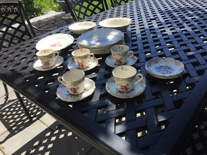 Vintage Floral Scalloped China dish and teacup set