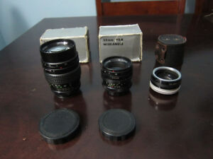 Two M42 Mount Lenses; Opticam 35mm & 135mm w Canon EF Adapter