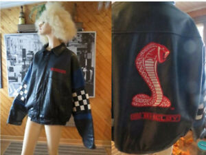 FORD Shelby Cobra Leather Jacket Navy Blue & Embroidered-XL