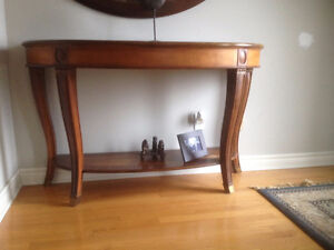"Large Semi Oval Sofa Table w/ inlay 56"" X 20"" X 35""HIgh"