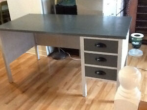Charcoal grey wood desk