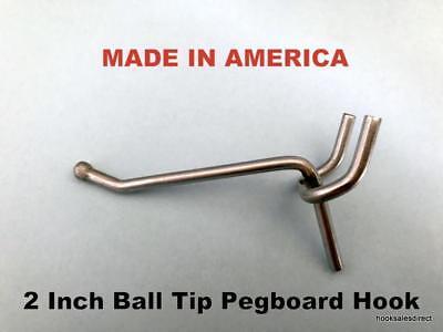 "(100 PACK) 2 Inch All Metal Peg Hooks 1/8 to 1/4"" Pegboard, Slatwall, Garage kit"